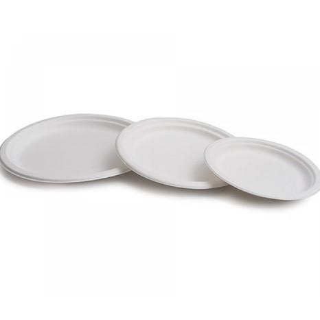 Plato caña azucar redondo 15 cms Blanco