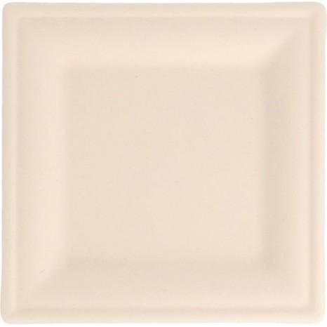 Plato caña azucar cuadrado (con marco) 26cm Blanco