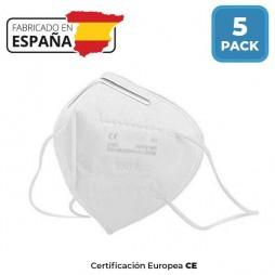 Mascarilla Protección FFP2 KN95 (Paq. 5 unid.) - FABRICADAS EN ESPAÑA -