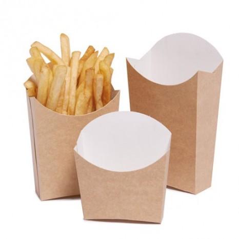 Caja Cartón Kraft Mediana para Patatas Fritas (Pack 500 Unid.)